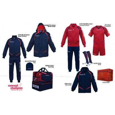 Set complet echipament sportiv Box Gold Rosu-Bleumarin GIVOVA