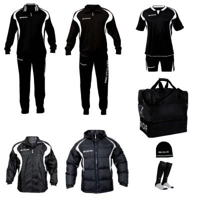 Set complet echipament fotbal Givova Alb-Negru