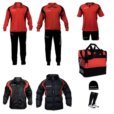 Set complet echipament fotbal Givova Rosu-Negru