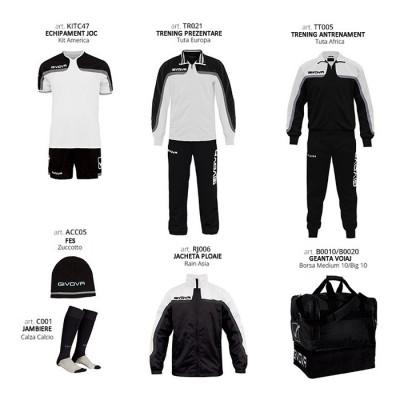 Set complet echipament fotbal Box Platinum Basico, Alb-Negru, GIVOVA