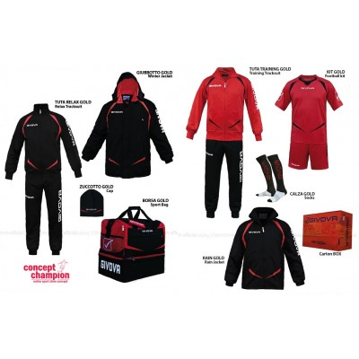 Set complet echipament sportiv Box Gold Negru-Rosu GIVOVA