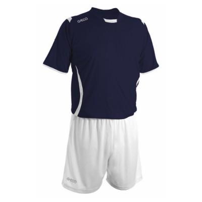 Echipament fotbal bleumarin alb GECO