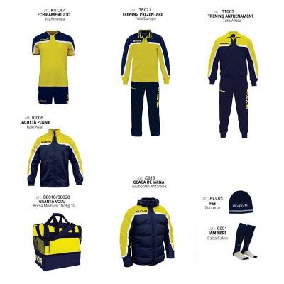 Set complet echipament fotbal Box Platinum, Galben-Bleumarin, GIVOVA